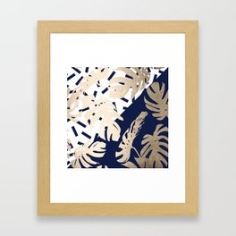 Simply Tropical Nautical Navy Memphis Palm Leaves Framed Art Print