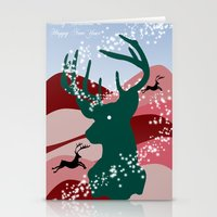 merry christmas Stationery Cards featuring merry christmas by mark ashkenazi