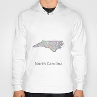 north carolina Hoodies featuring North Carolina map by David Zydd