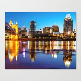 Colorful Cincinnati Night Skyline Reflections Canvas Print