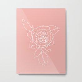 Rose Flower With Leaves One Line Art Metal Print