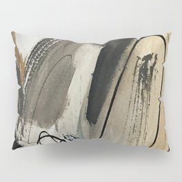 Drift [5]: a neutral abstract mixed media piece in black, white, gray, brown Pillow Sham