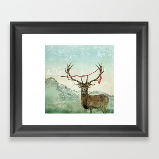 hold deer, tsunami Framed Art Print