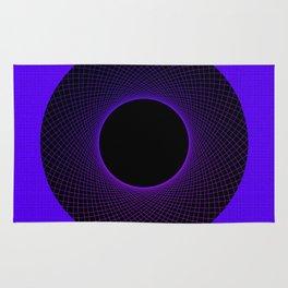 Blueberry Vortex Black & Blue Circular Design Rug