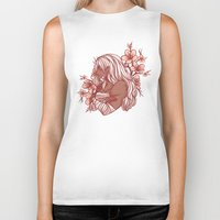 cherry blossoms Biker Tanks featuring Cherry Blossoms by bitterkiwi