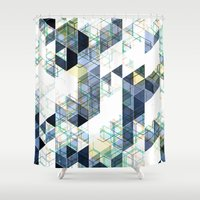 vertigo Shower Curtains featuring C13 HighRise / Vertigo by colli1.3designs