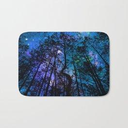 Black Trees Teal Purple Space Bath Mat