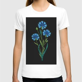 Embroidered Flowers on Black 08 T-shirt