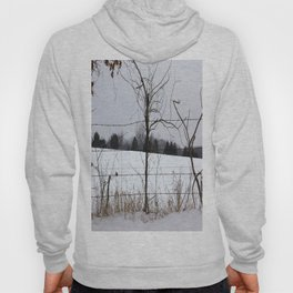Snow covered field behind barb-wire fence Hoody
