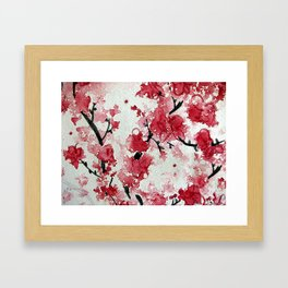 Watercolor Sakura Blossoms Framed Art Print