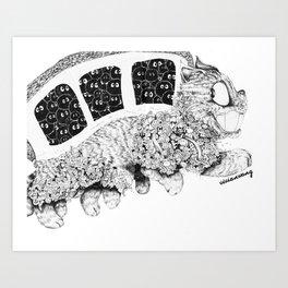 Studio Ghibli Cat Bus Black & White Zentangle Drawing Doodle Art Print