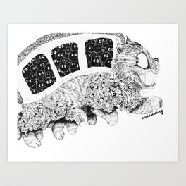 Studio Ghibli Cat Bus Black & White Zentangle Drawing Doodle Art Print