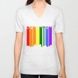 Scranton Pennsylvania Gay Pride Rainbow Skyline Unisex V-Neck