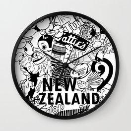 Kiwiana Doodle Wall Clock