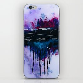 Dawn, pink and fushia black and blue acrylic abstract artwork iPhone Skin