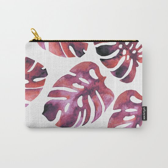 Monstera Red Carry-All Pouch