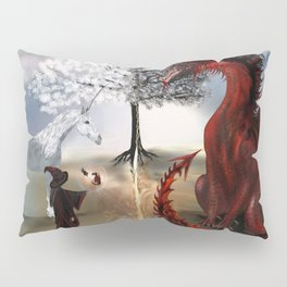 The Owl,Wizard,Unicorn and the Dragon Pillow Sham