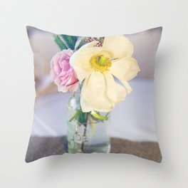 Shabby chic flowers in a vase Throw Pillow