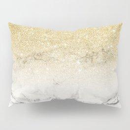 Modern faux gold glitter white marble color block Pillow Sham