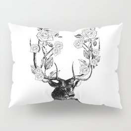 The Stag and Roses | Black and White Pillow Sham