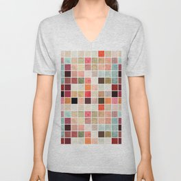 Vintage shabby chic pink teal mosaic painting Unisex V-Neck