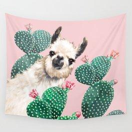 Llama and Cactus Pink Wall Tapestry
