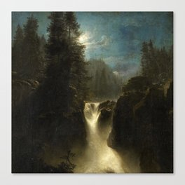 Waterfall in the Italian Countryside by Oswald Achenbach Canvas Print