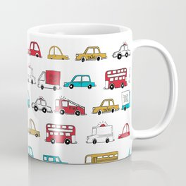 Cars trucks buses city highway transportation illustration cute kids room gifts Coffee Mug