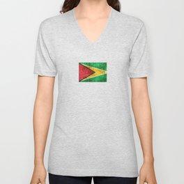 Vintage Aged and Scratched Guyanese Flag Unisex V-Neck