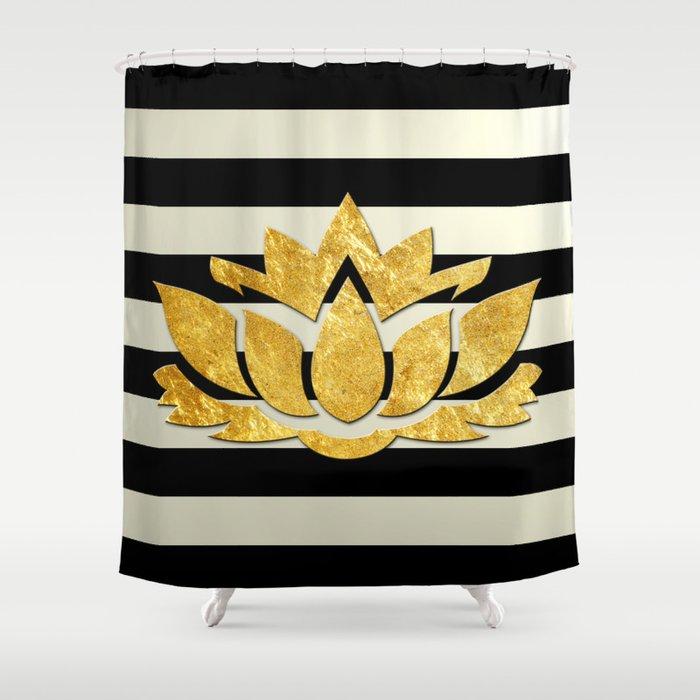Horizontal Stripes Gold Metallic Lotus Flower Shower Curtain
