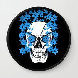 Skull with Blue Flowers Wall Clock