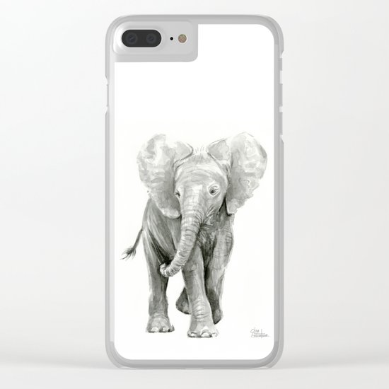 Baby Elephant Watercolor Clear iPhone Case
