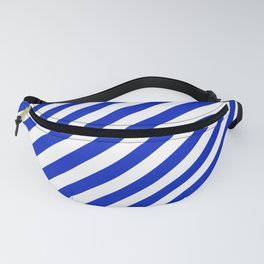 Cobalt Blue and White Wide Candy Cane Stripe Fanny Pack