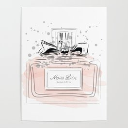 Perfume bottle with bow Poster