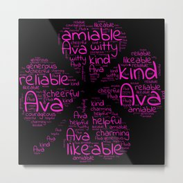 Ava name gift with lucky charm cloverleaf word Metal Print