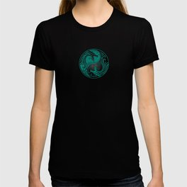 Teal Blue and Black Yin Yang Dragons T-shirt