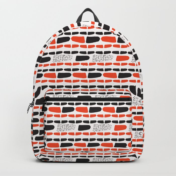 c4c7ac4a2 Red and Black Abstract Stripes Cryptic Shapes Backpack by limolida