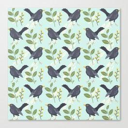 A Flurry Of Wings Spring Blackbird Pattern Canvas Print