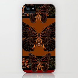 BLACK  MONARCH BUTTERFLIES,COFFEE BROWN-BURGUNDY ART iPhone Case