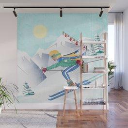 Skiing Girl Wall Mural