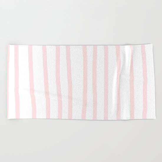 Simply Drawn Vertical Stripes in Flamingo Pink Beach Towel