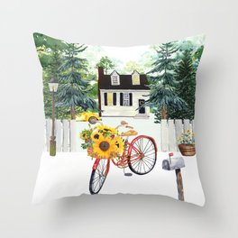Sunflower Bicycle Throw Pillow