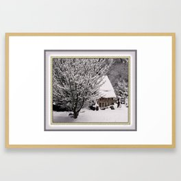 OLD SHED IN SNOW Framed Art Print