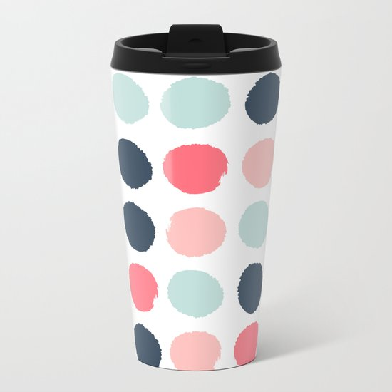 Dots painted coral mint navy pink pattern dotted polka dot minimalist Metal Travel Mug