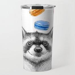 raccoon with cookies Travel Mug
