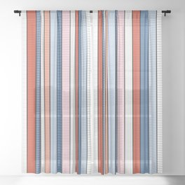 Striped pattern Colorful Stripe design - red, blue, white, orange Sheer Curtain
