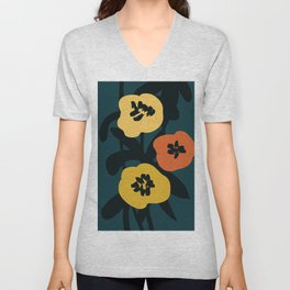 Midnight Flowers Unisex V-Neck