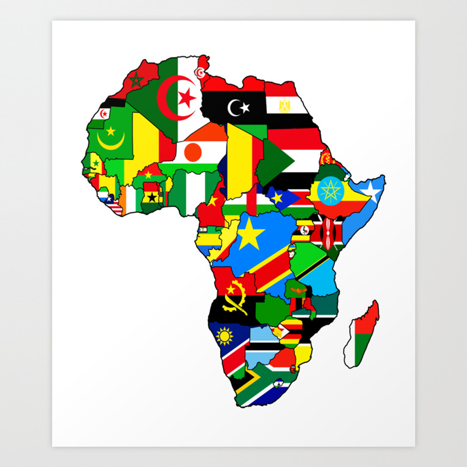 Map Of Africa Flags.Flags Of African Countres Africa Map Art Print