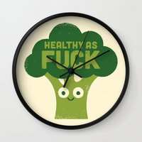 vegetarian Wall Clocks featuring Raw Truth by David Olenick