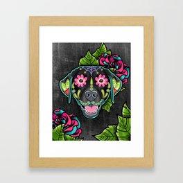Labrador Retriever - Black Lab - Day of the Dead Sugar Skull Dog Framed Art Print